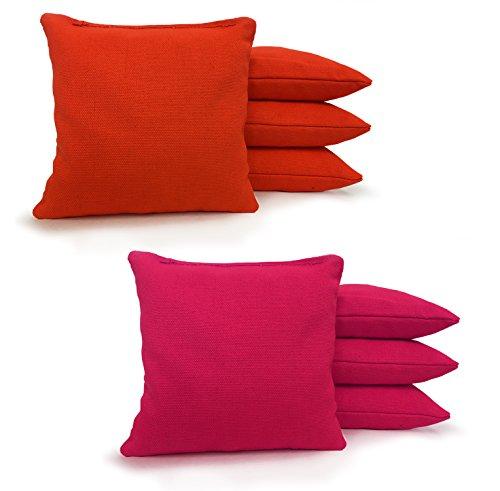 Johnson Enterprises, LLC 8 Standard Corn Filled Regulation Duck Cloth Cornhole Bags 17 Colors Available (You Pick)!! (Orange/Pink)]()