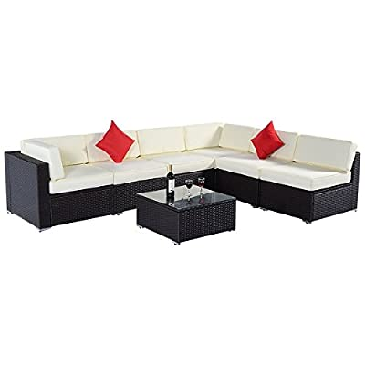 Costway 7PC Furniture Sectional PE Wicker Patio Rattan Sofa Set Couch Brown