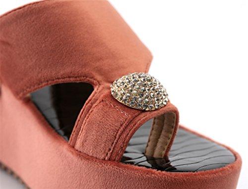 AgeeMi Shoes Sandalias Para Mujer Elegante Verano Punta Abierta Plataforma Rojo (EuL14)