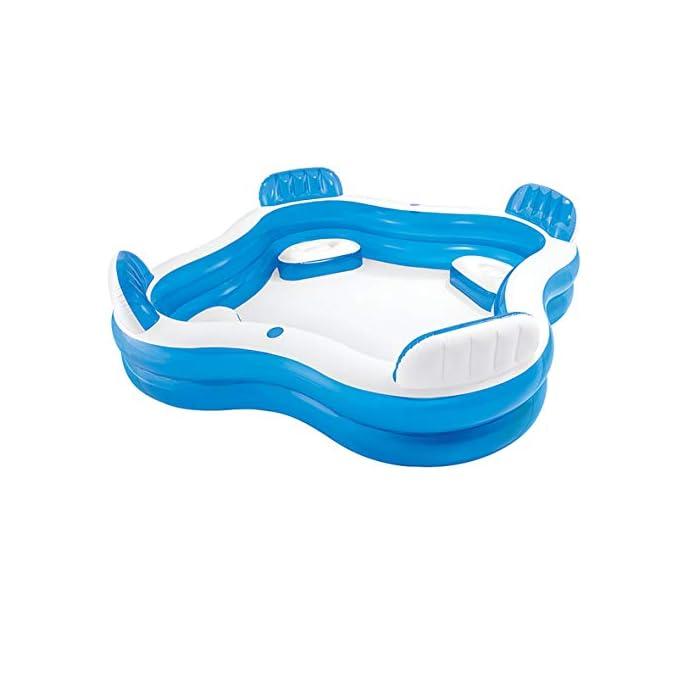 410daDiRWCL Piscina hinchable Intex de vinilo con forma cuadrada, medidas: 229 x 66 cm y capacidad para 990 litros/agua Piscina hinchable con 4 asientos y respaldos hinchables para mayor comodidad y relajación Piscina de color blanco y azul, incluye 2 posavasos en la lona de la piscina