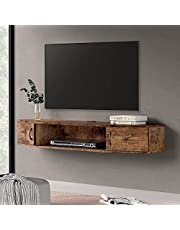 FITUEYES Floating TV Stands Wall Mount Storage Shelves Media Console with Doors Entertainment Center for Home Living Room, Apartment, Rustic Brown