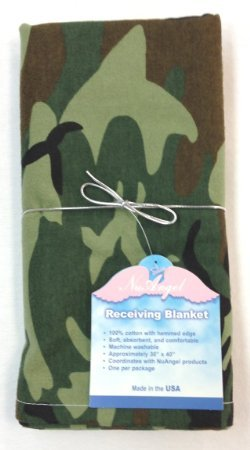 Woodland Blanket Camouflage Receiving - NuAngel Baby Receiving Blanket, Green Camo, 100% Cotton Flannel, Made in USA