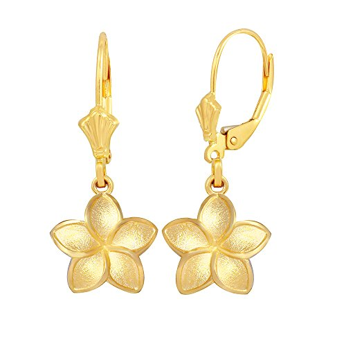 Matte Finish 14k Yellow Gold Hawaiian Flower Plumeria Dangle Earrings (Small)