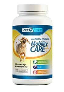 Glucosamine for Dogs with Chondroitin + MSM + Manganese + Vitamins by Petvitalix, Best Arthritis Pain Relief Joint Health Supplement for Pets Recommended by Veterinarians; Professional Strength Dog Supplement for Joints and Hip Dysplasia; Medicine Treats; Pain Reliever Chews and Pills; No Liquid or Powder to Treat; Easy Chewable Tablets; #1 Hip and Joint Supplement for Dogs of All Sizes, Ages, Breeds; 120 Chewable Tablets; 100% Made in USA; Healed or FREE Money Back GUARANTEE