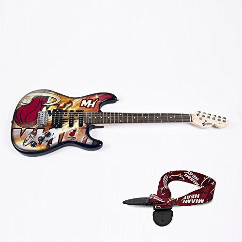 Miami Heat NBA ''Northender'' Electric Guitar with Strap by Woodrow