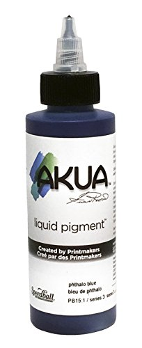 Akua Kolor Non-Toxic Water Based Monotype Ink, 4 oz Bottle, Phthalocyanine Blue