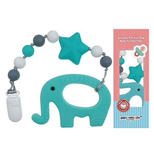 Panny & Mody Baby Teething Relief Toys BPA Free Silicone Elephant Teether with Pacifier Clip - Easy to Hold Soft Bendable Best for Freezer Cool Girl or Boy 0 3 6 12 Months 1 Year Old- Baby Shower