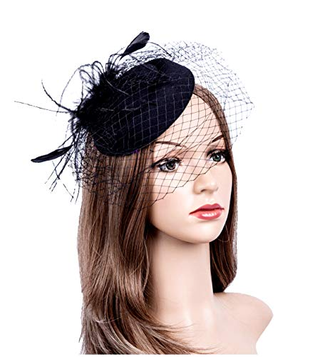 Fascinators Hats 20s 50s Hat Pillbox Hat Cocktail Tea Party Headwear with Veil for Girls and Women (1-B1-Black)]()
