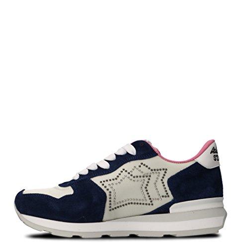 Atlantic Stjerner Dame Vegagm86b Weiss / Blau Leder Sneakers UShfKTM