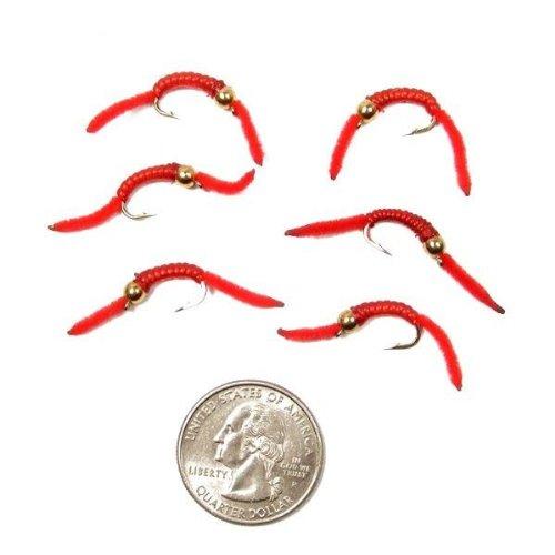 Trout Nymph Fly - San Juan Worm Power Bead 1/2 Dozen Gold Bead Red V-Rib #10 Nymph Wet Flies (Nymph Gold Bead)