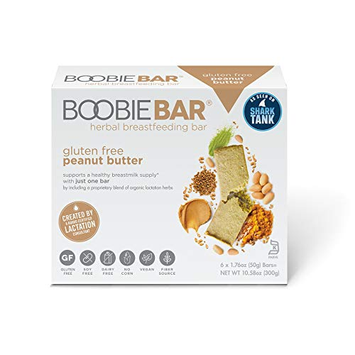 Boobie Bar - Herbal Breastfeeding Bar - Gluten Free Peanut Butter - 6 Individually Wrapped Bars, Lactation supplement supporting healthy breastmilk supply