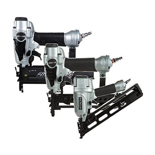Hitachi KNT65-50-38 3-Piece Angled Finish Nailer, Brad Nailer & Crown Stapler Combo Kit