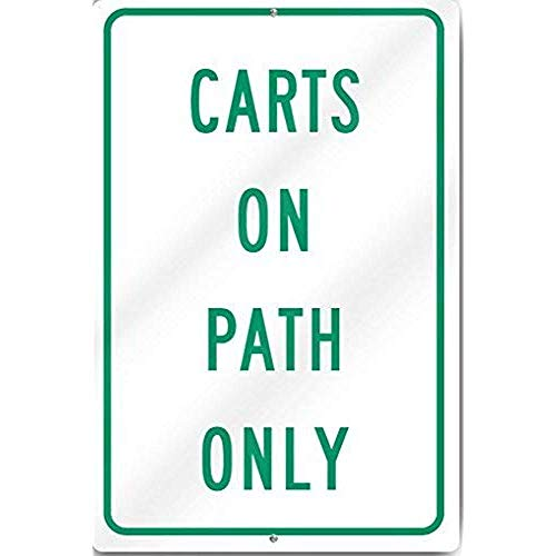 TGDB Carts On Path Only Sign Aluminum Metal Tin Sign Plate Heavy Metal Tin Sign Aluminum