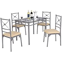 Tangkula Dining Table Set 5 Piece Home Kitchen Dining Room Tempered Glass Top Table and Chairs Breaksfast Furniture
