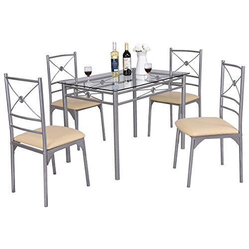Tangkula Dining Table Set 5 Piece Home Kitchen Dining Room Tempered Glass Top Table and Chairs Breaksfast - 66 Dinner Piece Set