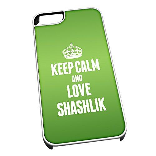 Bianco cover per iPhone 5/5S 1521verde Keep Calm and Love Shashlik