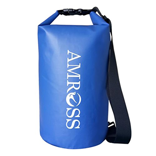 Amross 10L Waterproof Dry Bag, Shoulder Strap Included. The Perfect All-Season Waterproof Bag! Ski Bag, Kayaking, Boating, Camping, Severe Weather and More