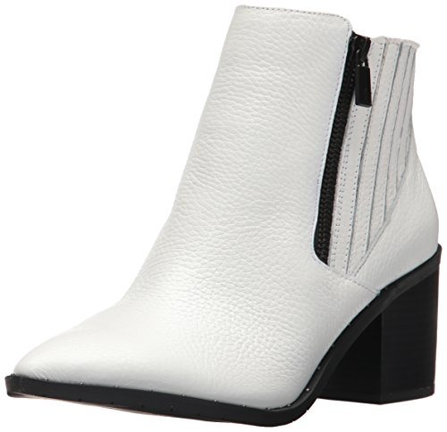 (Kenneth Cole REACTION Women's CUE UP Block Heel Bootie Pointed Toe Embossed Ankle Boot, White, 7 Medium US)
