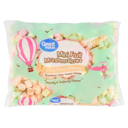 Great Value Mini Marshmallows, Fruit Flavored, 10 oz (Pack of 2) Gluten-Free