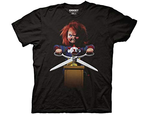 Ripple Junction Chucky Adult Unisex Jumbo Childs Play 2 Poster Light Weight 100% Cotton Crew T-Shirt LG Black