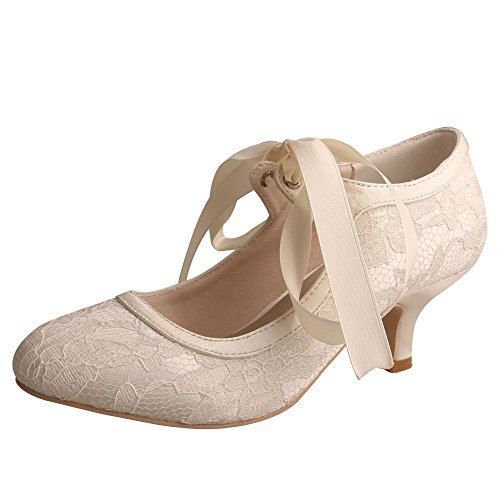 Wedopus MW306 Women Pumps Closed Toe Low Heels Mary Jane Prom Lace Ribbon Tie Wedding Party Shoes for Bride Size 10 Ivory ()