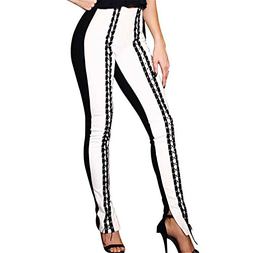 JIANGTAOLANG Sexy Black White Women Pencil Pants Midi Waist Lace Up Eyelets Streetwear Bandage Club Pant ()