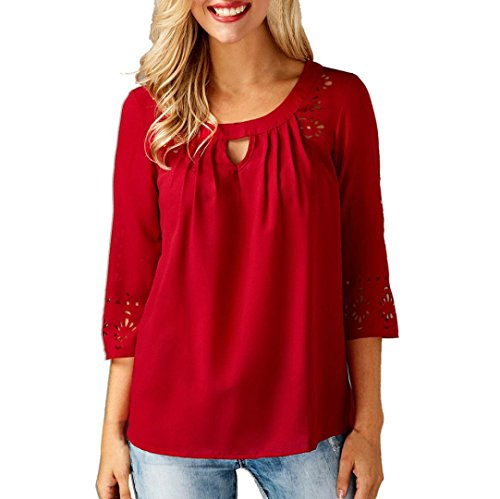 Mousseline de Trimestre Manches Rouge Femme Blouse Chemisier T Shirt Chic Soie Bring en Tops Solide q8pgt0In