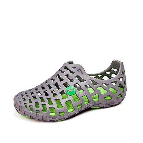 Xing Lin Sandalias De Hombre 8 Nuevos Hoyos Par De Modelos Zapatos Sandalias De 15 Años Sandalias Verano Zapatos De Aire Grey green