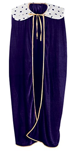 Adult size King or Queen Royal Robe with Collar - Mardi Gras - Purple