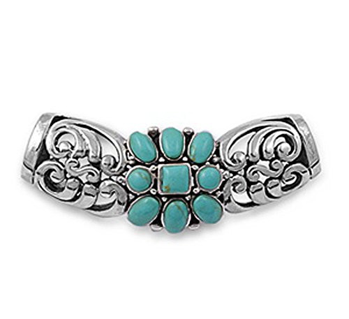 Slide Pendant Simulated Turquoise .925 Sterling Silver Charm - Silver Jewelry Accessories Key Chain Bracelet Necklace Pendants