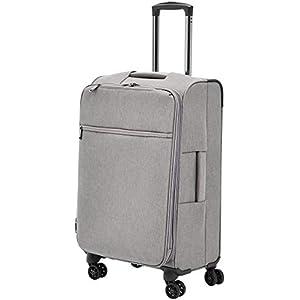 Rolling Spinner Luggage Amazon Basics Belltown Softside - 25 Inch, Heather Grey