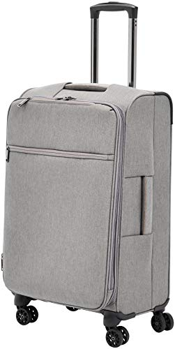 AmazonBasics Belltown Softside Rolling Spinner Suitcase Luggage - 25 Inch, Heather Grey ()