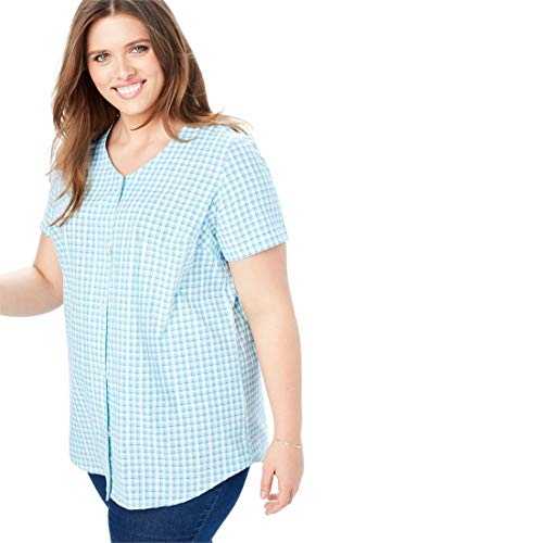 Woman Within Plus Size Seersucker V-Neck Shirt - Caribbean Blue Mini Check, 2X