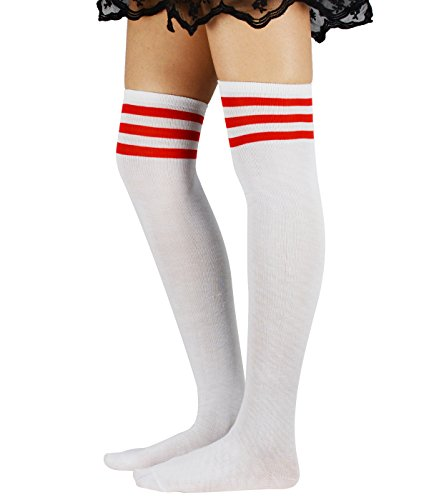 Zando Womens Athlete Thin Stripes Thigh High Over Knee Socks Cosplay Stockings F White w - White Striped Socks Tall