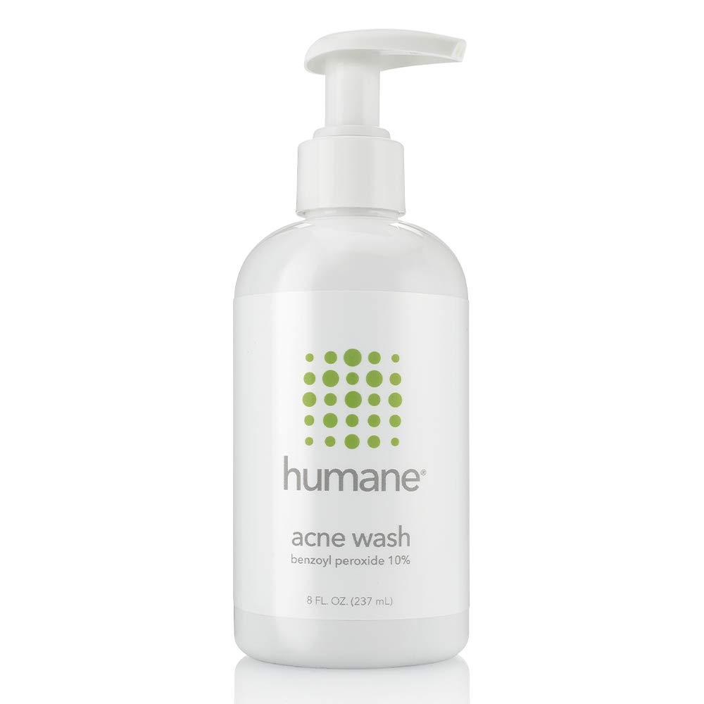 Humane Maximum-Strength Acne Wash, 10% Benzoyl Peroxide Acne Treatment, Dermatologist-Tested, Vegan, Cruelty-Free, Face, Skin, Back and Body Cleanser, 8 oz