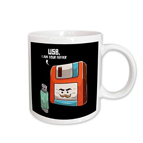 3dRose Sven Herkenrath Nerd - Retro Graphic with USB Stick and Floppy Disk Vintage Nerd - 15oz Mug (mug_308581_2)