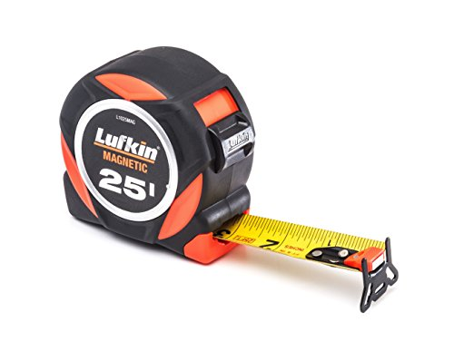"Crescent Lufkin 1-3/16"" x 25' L1000 Command Series Magnetic Yellow Clad Dual Sided Tape Measure - L1025MAG"