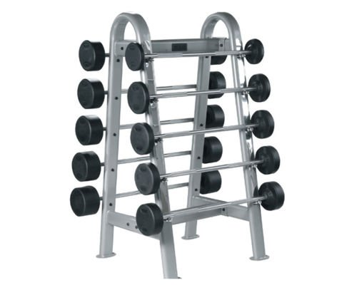 York Barbell Rubber Coated Pro Style Fixed Straight -10 Bar (20-110 lbs) Set with Rack