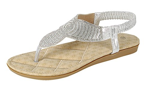 Cambridge Select Women's T-Strap Thong Crystal Rhinestone Glitter Stretch Slingback Flat Sandal (7 B(M) US, - Silver Sandals Womens