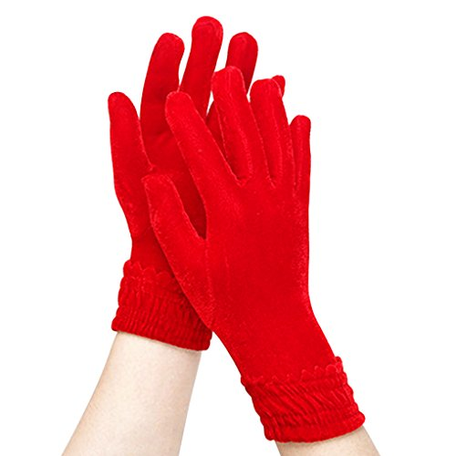 Women's Winter Velvet Gloves Lady's Warm Stretchy Special Occasion Evening Dress Wrist Length Gloves Outdoor Sports Driving Cycling Riding Running Motorcycle Gloves Mittens Gift (Red)