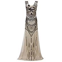 Vijiv 1920s Long Maxi Prom Gowns Sequin Mermaid Bridesmaid Formal Evening Dress