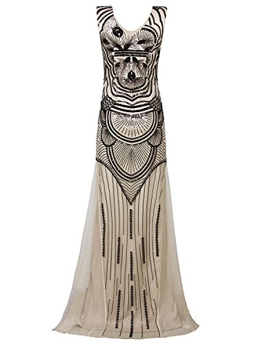 Vijiv 1920s Long Maxi Prom Gowns Sequin Embellished Bridesmaid Wedding Evening Dress,Black Beige,X-Large]()