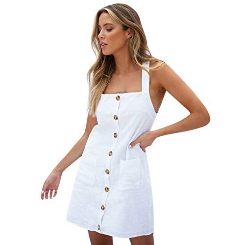 Clothful  Women Dress, Women Casual Sleeveless Spaghetti Strap Button Down Club Mini Dress with Pockets White
