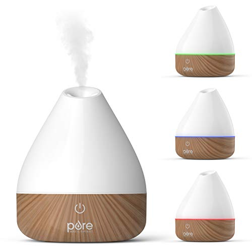 Pure Enrichment PureSpa Natural Aromatherapy Oil Diffuser (White) - Ultrasonic Air Deodorizer with 200ml Water Tank, Wood-Grain Accents, Soft Color-Changing Lights, and Auto Safety Shut-Off (Lamp Oil Lavender)
