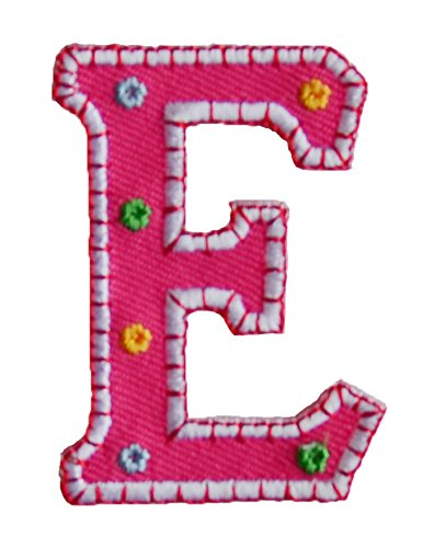 TrickyBoo Iron-On Letter Patch Craft Applique E Pink 5Cm For Crafts Jeans Clothing Fabric Names To Iron On Plate Cushion Door Bunting Flag Trousers Bag Backpack Ceiling Neckerchief Scarf Jacket Hat C