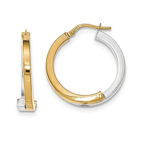 Roy Rose Jewelry 14K Two-tone Gold Overlapping Square Tube Hoop Earrings ~ 3mm width