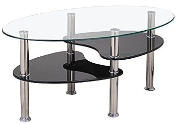 Devo Concept Couchtisch Oval 90 Cm Aus Mdf Und Glas Farbe Schwarz