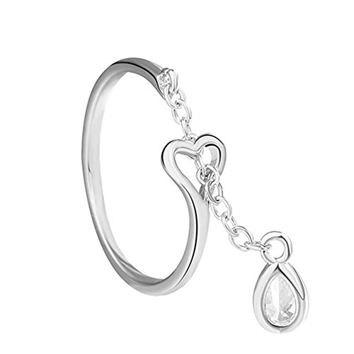 (925 Silver Plated innovative Hollow Heart Water Drop Chain Women Open Band Ring,Adjustable, White )