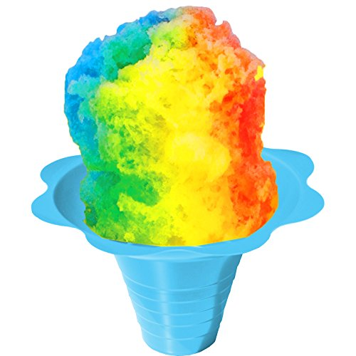 4in 500 Straws - Flower Cups for Serving Shaved Ice or Snow Cones, Medium 8 Ounce, Case of 500, Blue/Yellow