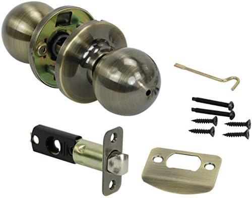 Harrier Hardware Privacy Door Lockset, Ball Style Knob (Antique Brass)